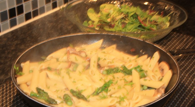 Penne with Wild Mushrooms, Asparagus and White Beans.